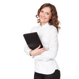 Portrait of smiling business woman with paper folder Royalty Free Stock Photos