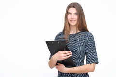 Portrait of smiling business woman with paper folder Stock Photos