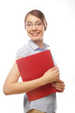 Portrait of smiling business woman with paper folders Royalty Free Stock Photography