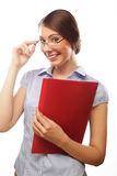 Portrait of smiling business woman with paper folders Stock Photos