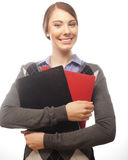 Portrait of smiling business woman with paper folders Royalty Free Stock Images