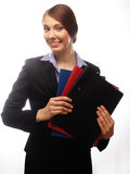 Portrait of smiling business woman with paper folders Royalty Free Stock Image