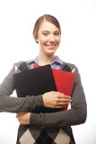 Portrait of smiling business woman with paper folders Stock Images