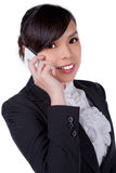 Portrait of smiling business woman phone talking, isolated on wh royalty free stock photos