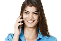 Portrait of smiling business woman phone talking, isolated on wh Royalty Free Stock Images