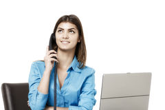 Portrait of smiling business woman phone talking, isolated on wh Stock Photo