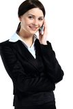 Portrait of smiling business woman phone talking Royalty Free Stock Image
