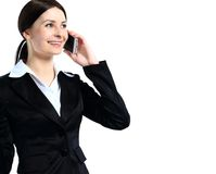 Portrait of smiling business woman phone talking Stock Photography