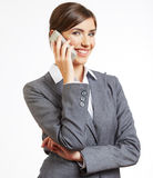 Portrait of smiling business woman phone talking, isolated Stock Image