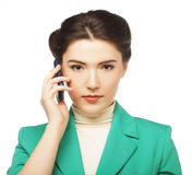 Portrait of smiling business woman phone talking Royalty Free Stock Photography