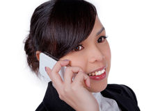 Portrait of smiling business woman phone talking Stock Photo