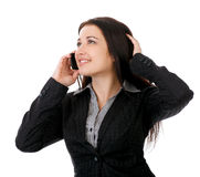 Portrait of smiling business woman phone talking. Stock Photography