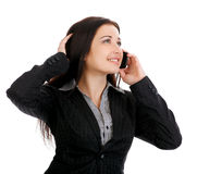 Portrait of smiling business woman phone talking. Royalty Free Stock Photography