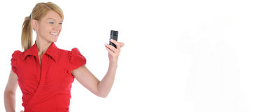 Portrait of smiling business woman phone talking Royalty Free Stock Photos