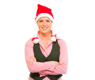 Portrait of smiling business woman in Santa Hat Royalty Free Stock Photography