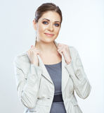 Portrait of smiling business woman,  on white backgroun Royalty Free Stock Photography