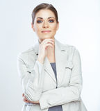 Portrait of smiling business woman,  on white Royalty Free Stock Images
