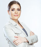 Portrait of smiling business woman,  on white background Stock Images