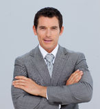Portrait of smiling businessman with folded arms Royalty Free Stock Photo
