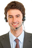 Portrait of smiling businessman with headset Stock Image
