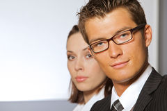 Portrait of smiling businessman and woman Stock Photo