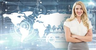Portrait of smiling businesswoman standing with arms crossed against map background. Digitally composite of smiling businesswoman standing with arms crossed vector illustration