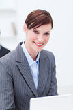 Portrait of a smiling businesswoman working Stock Photography