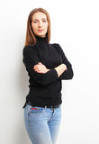 Portrait of smiling casual woman, over white background Royalty Free Stock Photography