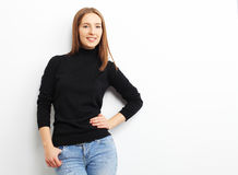 Portrait of smiling casual woman, over white background Stock Photos