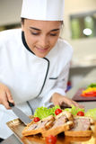 Portrait of smiling caterer girl Stock Images