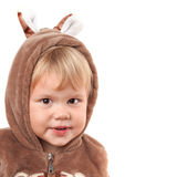 Portrait of smiling Caucasian baby girl in bear costume Royalty Free Stock Photo