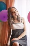 Portrait of Smiling Caucasian Brunette Woman Stock Image