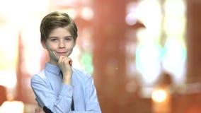 Portrait of smiling caucasian child boy. stock footage