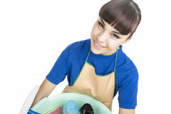 Portrait of Smiling Caucasian Cleaner Woman Stock Image