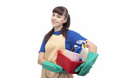 Portrait of Smiling Caucasian Cleaner Woman With Lots of Accesso Stock Images