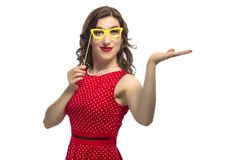 Portrait of Smiling Caucasian Female with Color Paper Artistic Spectacles. Youth Lifestyle Concept and Ideas. Portrait of Smiling Caucasian Female with Color stock photos