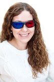 Portrait of smiling Caucasian girl in 3D glasses Royalty Free Stock Photos