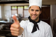 Portrait of smiling chef showing thumbs up Royalty Free Stock Photos