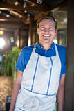 Portrait of smiling chef. Standing in restaurant royalty free stock photos
