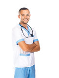 Portrait of smiling confident doctor with stethoscope isolated o. N white background. Arms crossed Stock Images