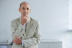 Experienced businessman. Portrait of smiling confident experienced businessman in his office Stock Photography