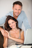 Portrait of smiling couple Stock Photos