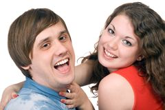 Portrait of  the smiling couple. Portrait of  the smiling young couple. Isolated Royalty Free Stock Photo