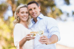 Portrait of smiling couple embracing and toasting with wineglass Royalty Free Stock Image