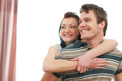 Portrait of smiling couple looking on copyspace Stock Photo