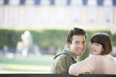 Portrait Of Smiling Couple At Park Stock Image