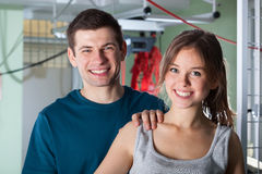 Portrait of a smiling couple at physiotherapy clinic Stock Photos