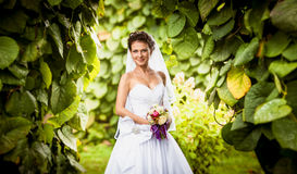 Portrait of smiling cute bride at park Stock Photo
