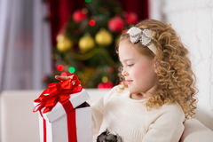 Portrait of  smiling cute girl with Christmas gift Royalty Free Stock Images