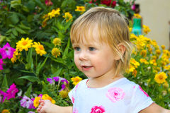 Portrait of smiling cute little child Stock Images